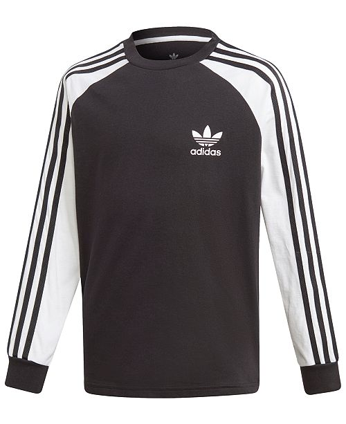 adidas Adidas Big Boys Original 3-Stripes Long-Sleeve Shirt