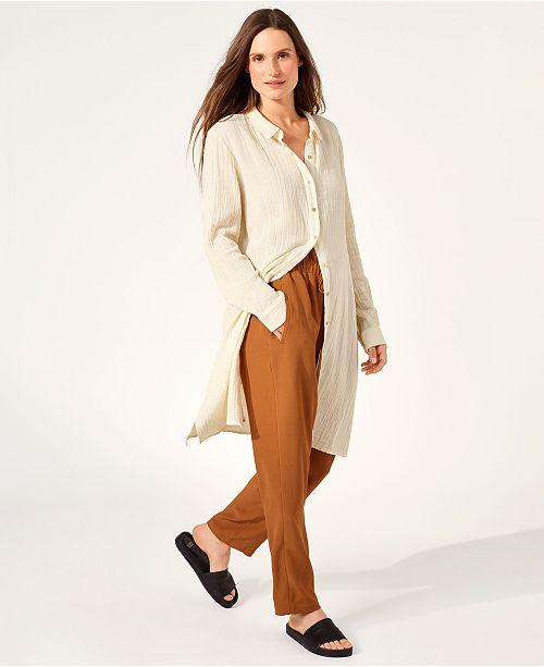 Eileen Fisher Organic Cotton Long Button-Up Shirtdress, Regular & Petite