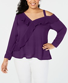 I.N.C. Plus Size Asymmetrical-Ruffle Knit Top, Created for Macy's