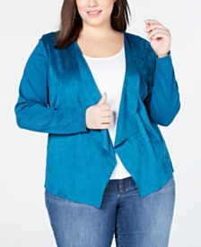 I.N.C. Plus Size Moleskin Cardigan, Created for Macy's