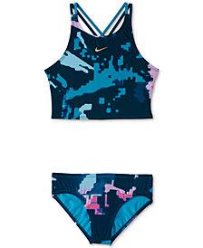 Nike Big Girls 2-Pc. Glitch Spiderback Midkini Swimsuit