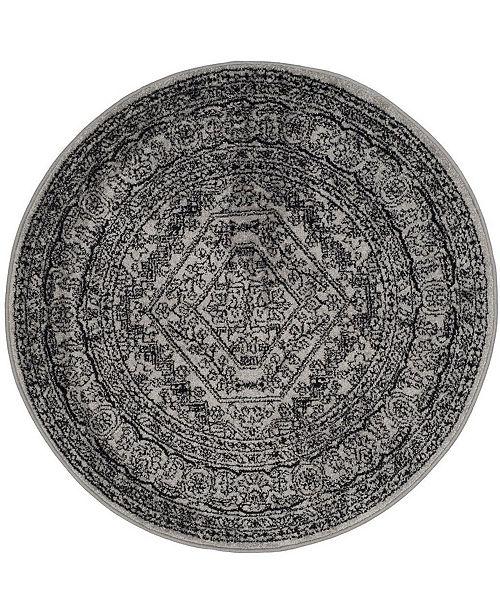 Safavieh Adirondack Silver and Black 4' x 4' Round Area Rug