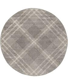 Adirondack Light Gray and Ivory 6' x 6' Round Area Rug