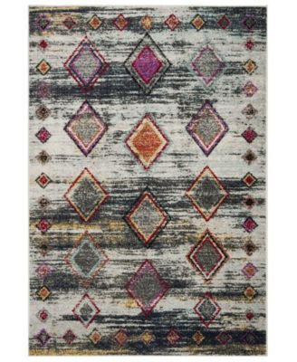 Adirondack Light Gray and Red 4' x 6' Area Rug