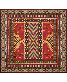 Classic Vintage Red and Slate 6' x 6' Square Area Rug