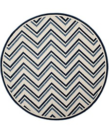 "Cottage Cream and Blue 6'7"" x 6'7"" Round Area Rug"
