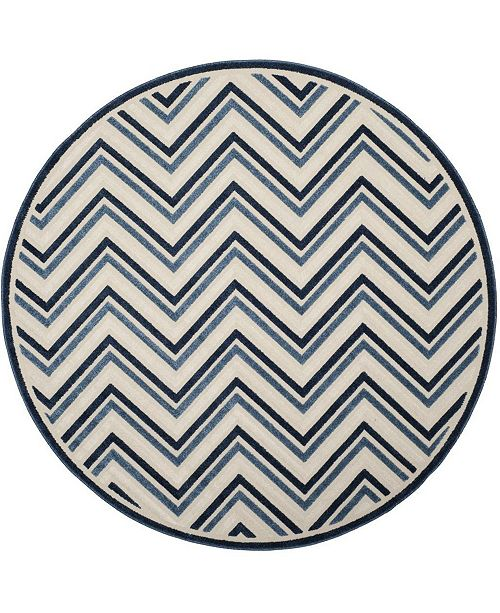 "Safavieh Cottage Cream and Blue 6'7"" x 6'7"" Round Area Rug"