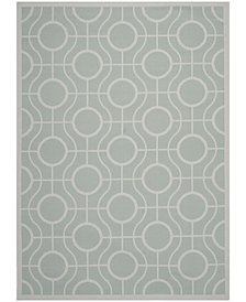 "Safavieh Courtyard Aqua and Light Gray 6'7"" x 9'6"" Sisal Weave Area Rug"
