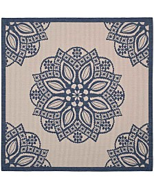 """Safavieh Courtyard Beige and Navy 6'7"""" x 6'7"""" Sisal Weave Square Area Rug"""