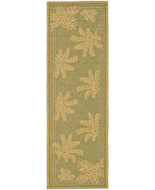 """Safavieh Courtyard Green and Natural 2'3"""" x 6'7"""" Area Rug"""