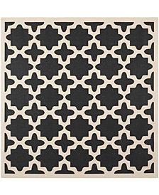 "Safavieh Courtyard Black and Beige 7'10"" x 7'10"" Sisal Weave Square Area Rug"