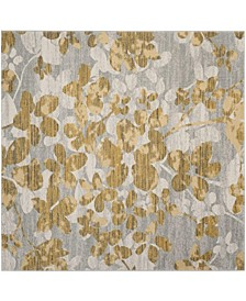 "Evoke Gray and Gold 6'7"" x 6'7"" Square Area Rug"