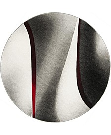 """Hollywood Gray and Red 6'7"""" x 6'7"""" Round Area Rug"""