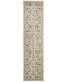 """Illusion Cream and Light Brown 2'3"""" x 8' Runner Area Rug"""
