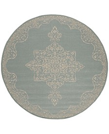 "Linden Cream and Aqua 6'7"" x 6'7"" Round Area Rug"