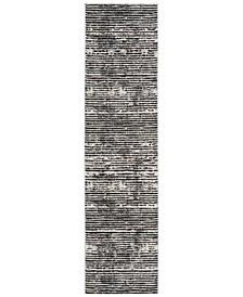 Lurex Black and Grey 2' x 8' Runner Area Rug