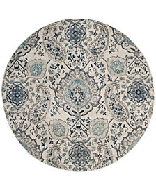 "Safavieh Madison Cream and Light Gray 6'7"" x 6'7"" Round Area Rug"