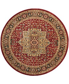 """Mahal Natural and Navy 6'7"""" x 6'7"""" Round Area Rug"""