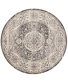 Vintage Persian Dark Gray and Ivory 5' x 5' Round Area Rug