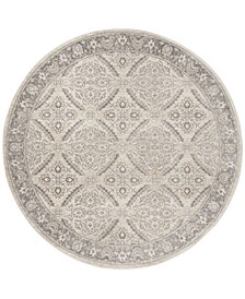 """Brentwood Cream and Gray 6'7"""" x 6'7"""" Round Area Rug"""