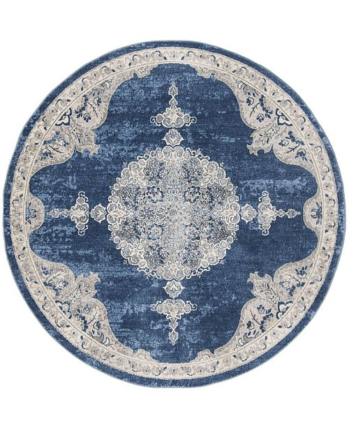 "Safavieh Brentwood Navy and Light Gray 6'7"" x 6'7"" Round Area Rug"
