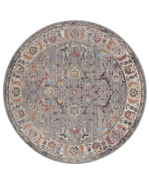 Safavieh Bristol Gray and Light Gray 7' x 7' Round Area Rug