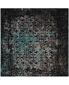 Classic Vintage Navy and Teal 6' x 6' Square Area Rug