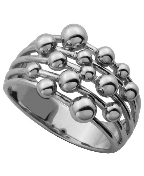 PRIME ART & JEWEL 925 Sterling Silver Bubble Design Band Ring