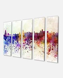 "Designart Chicago Skyline Cityscape Canvas Art Print - 60"" X 28"" - 5 Panels"