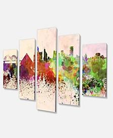 "Designart Memphis Skyline Large Cityscape Canvas Art Print - 60"" X 32"" - 5 Panels"