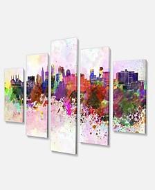 "Designart Kansas City Skyline Large Cityscape Canvas Art Print - 60"" X 32"" - 5 Panels"