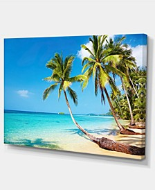 "Designart Tropical Beach Photography Seascape Canvas Print - 32"" X 16"""