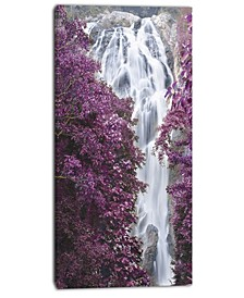 "Designart Klonglan Waterfall Floral Abstract Canvas Artwork - 16"" X 32"""