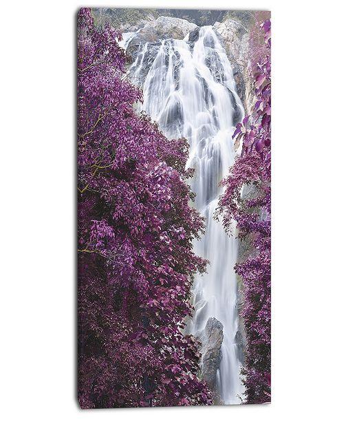 """Design Art Designart Klonglan Waterfall Floral Abstract Canvas Artwork - 16"""" X 32"""""""