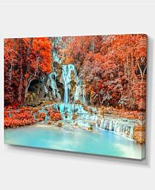 "Designart Rainforest Waterfall Loas Landscape Photography Canvas Print - 32"" X 16"""