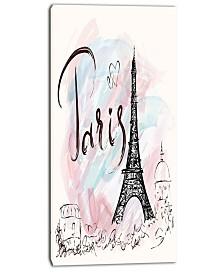 "Designart Illustration With Paris Eiffel Tower Cityscape Canvas Print - 16"" X 32"""