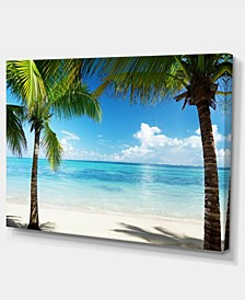 "Designart Palm Trees And Sea Landscape Photography Canvas Print - 32"" X 16"""