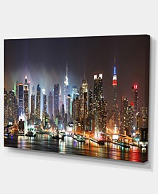 "Designart Lit Nyc Manhattan Skyline Cityscape Photo Canvas Print - 32"" X 16"""