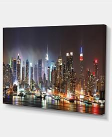 "Designart Lit Nyc Manhattan Skyline Cityscape Photo Canvas Print - 32"" X 16"""