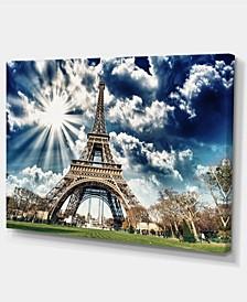 "Designart Magnificent Paris Eiffel Towerview Skyline Photography Canvas Art - 32"" X 16"""