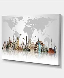 """Designart Famous Monuments Across World Large Canvas Art Print - 32"""" X 16"""""""