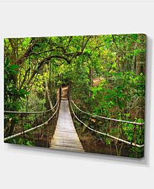 "Designart Bridge To Jungle Thailand Landscape Photo Canvas Art Print - 32"" X 16"""