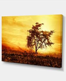 "Designart African Tree Silhouette Landscape Photo Canvas Art Print - 32"" X 16"""
