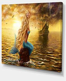 "Designart Sea Mermaid With Ghost Ship Seascape Canvas Art Print - 20"" X 12"""