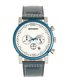 Quartz Ryker White Dial Chronograph Genuine Teal Leather Watch 45mm