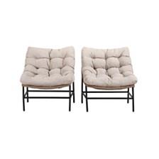 Outdoor Rattan Scoop Chairs, Set of 2