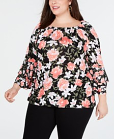 I.N.C. Plus Size Double-Tiered Peasant Top, Created for Macy's