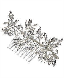 I.N.C. Silver-Tone Crystal Flower Hair Comb, Created for Macy's
