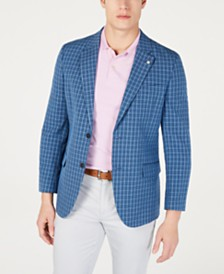 Nautica Men's Modern-Fit Blue Plaid Sport Coat