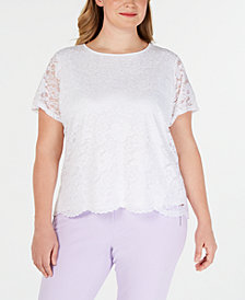 Calvin Klein Plus Size Short-Sleeve Lace Top